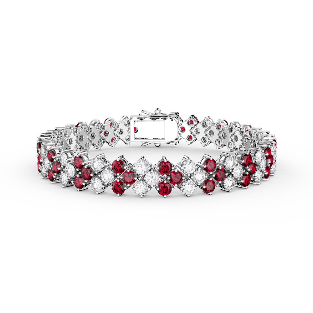 Eternity Three Row Ruby Platinum plated Silver Tennis Bracelet