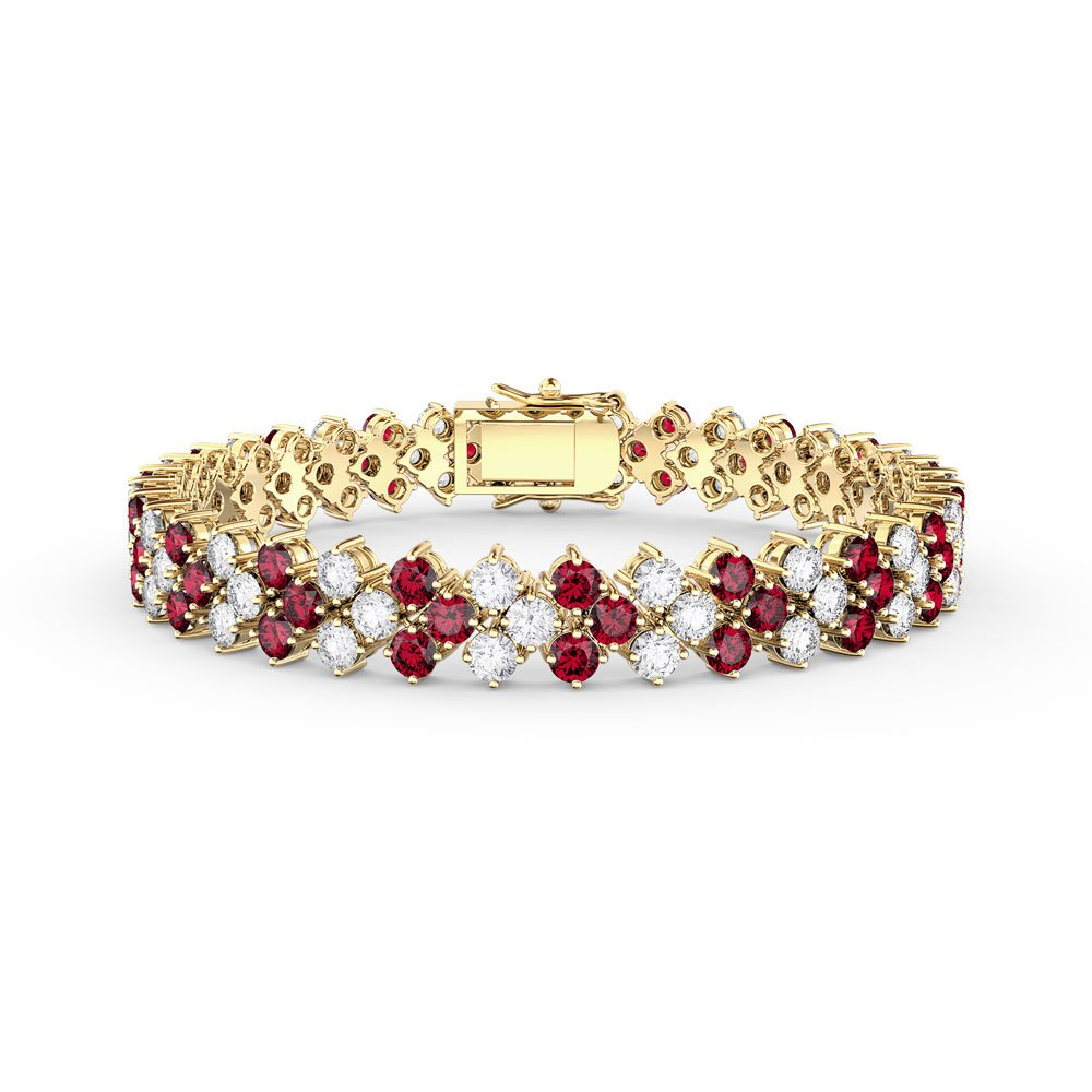 Eternity Three Row Ruby 18ct Gold Vermeil Tennis Bracelet