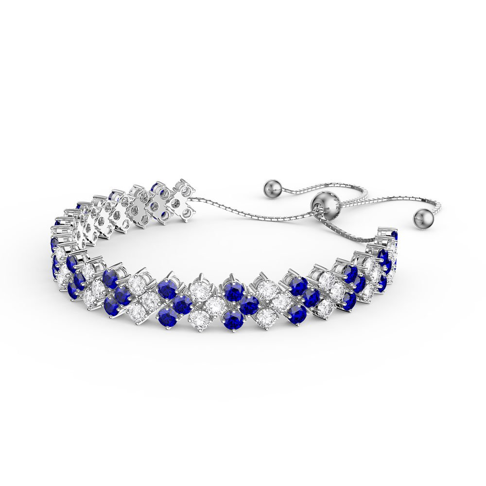 hsh bling sapphire colored silver tennis tone vintage antique bracelet jewelry cz blue