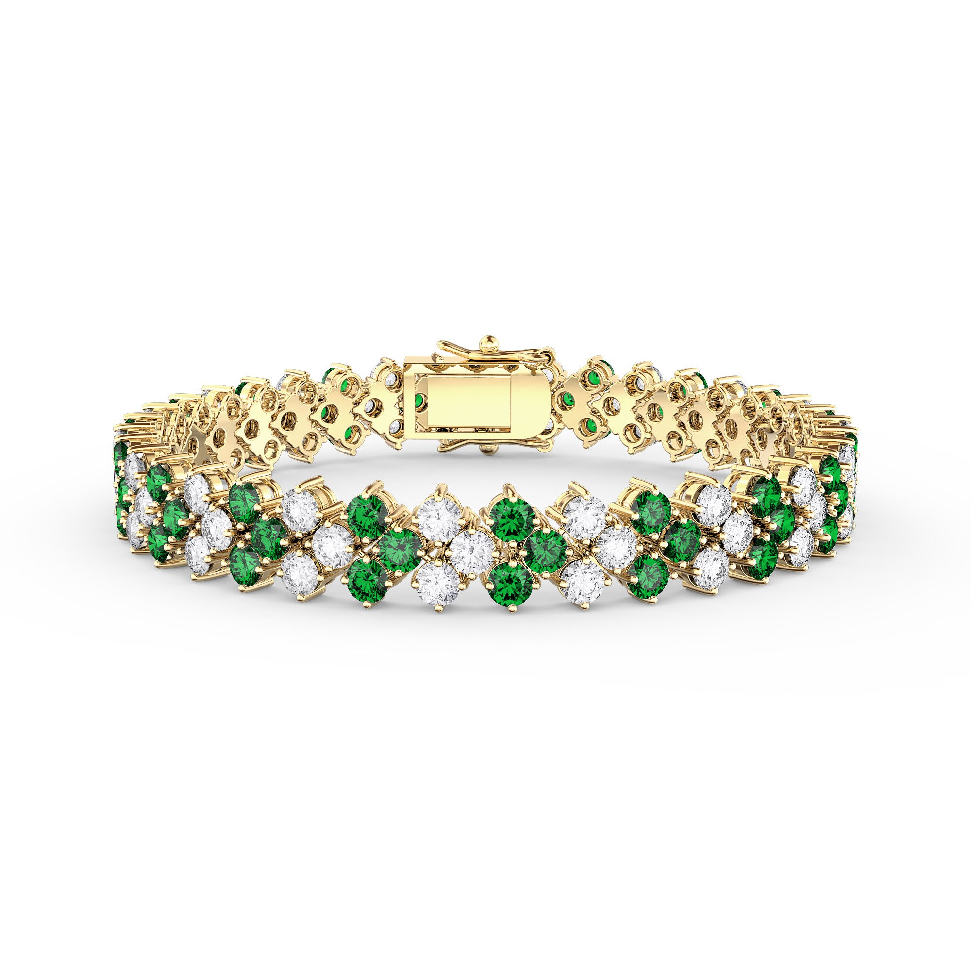 diamond bangle spectrum and gold hueb white bracelet emerald