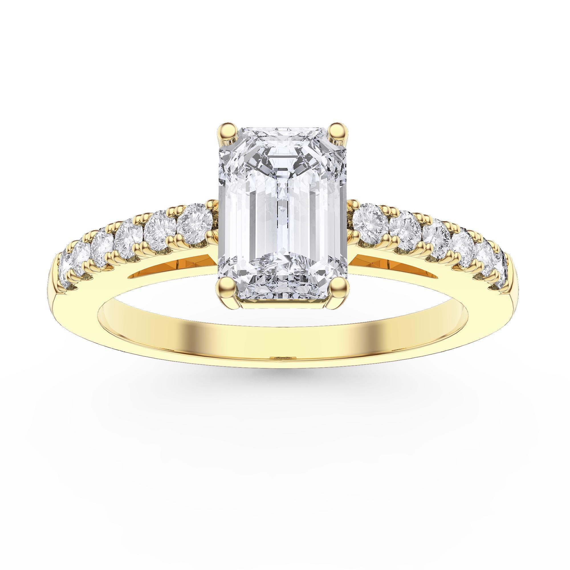 Unity 1ct Diamond Emerald Cut Pave 18k Yellow Gold Engagement Ring Jian London 18k Gold Rings