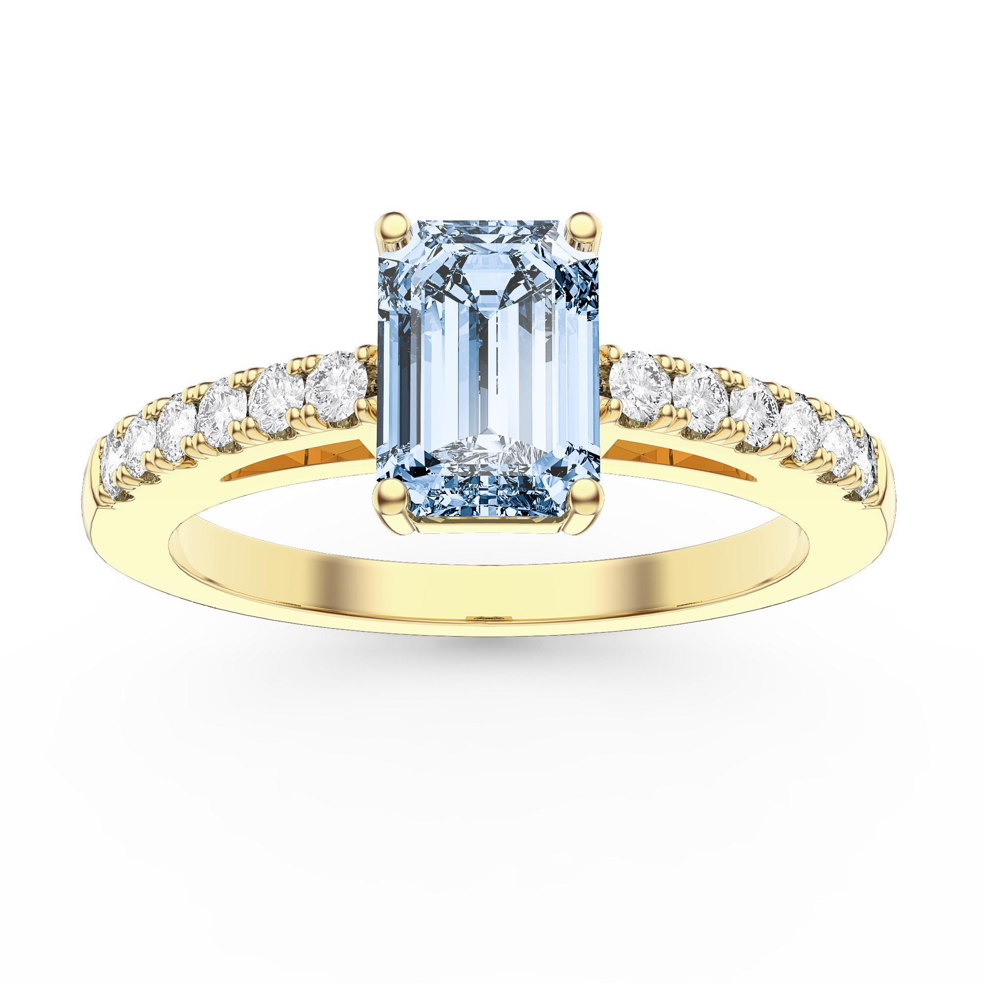 Unity 1ct Aquamarine Emerald Cut Moissanite Pave 18k Yellow Gold Engagement Ring Jian London 18k Gold Rings