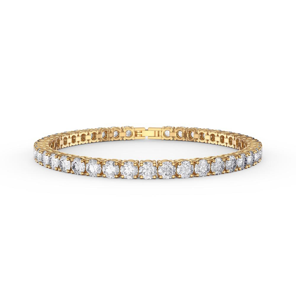 Eternity 10ct White Sapphire 18K Gold Vermel Tennis Bracelet
