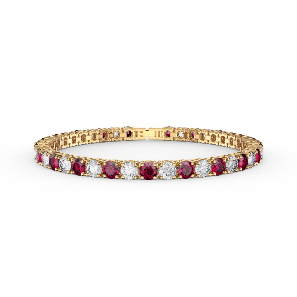 Eternity 10ct Ruby and Diamond CZ 18K Gold plated Silver Tennis Bracelet