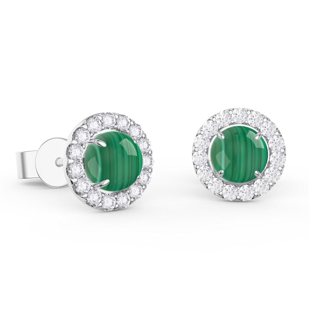 Halo Malachite Platinum plated Silver Stud Earrings