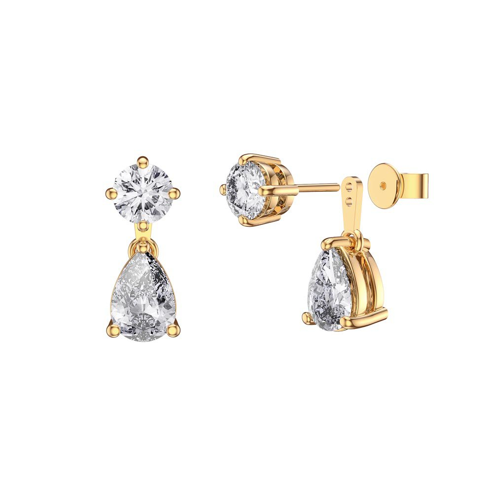Charmisma 6ct White Sapphire 18K Gold Vermeil Pear Earring Set