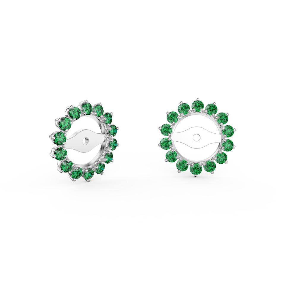 Fusion Emerald 10K White Gold Gemburst Halo Earring Jackets