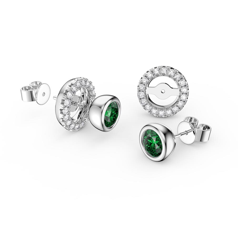 Infinity Emerald and Diamond 18K White Gold Stud Earrings Halo Jacket Set