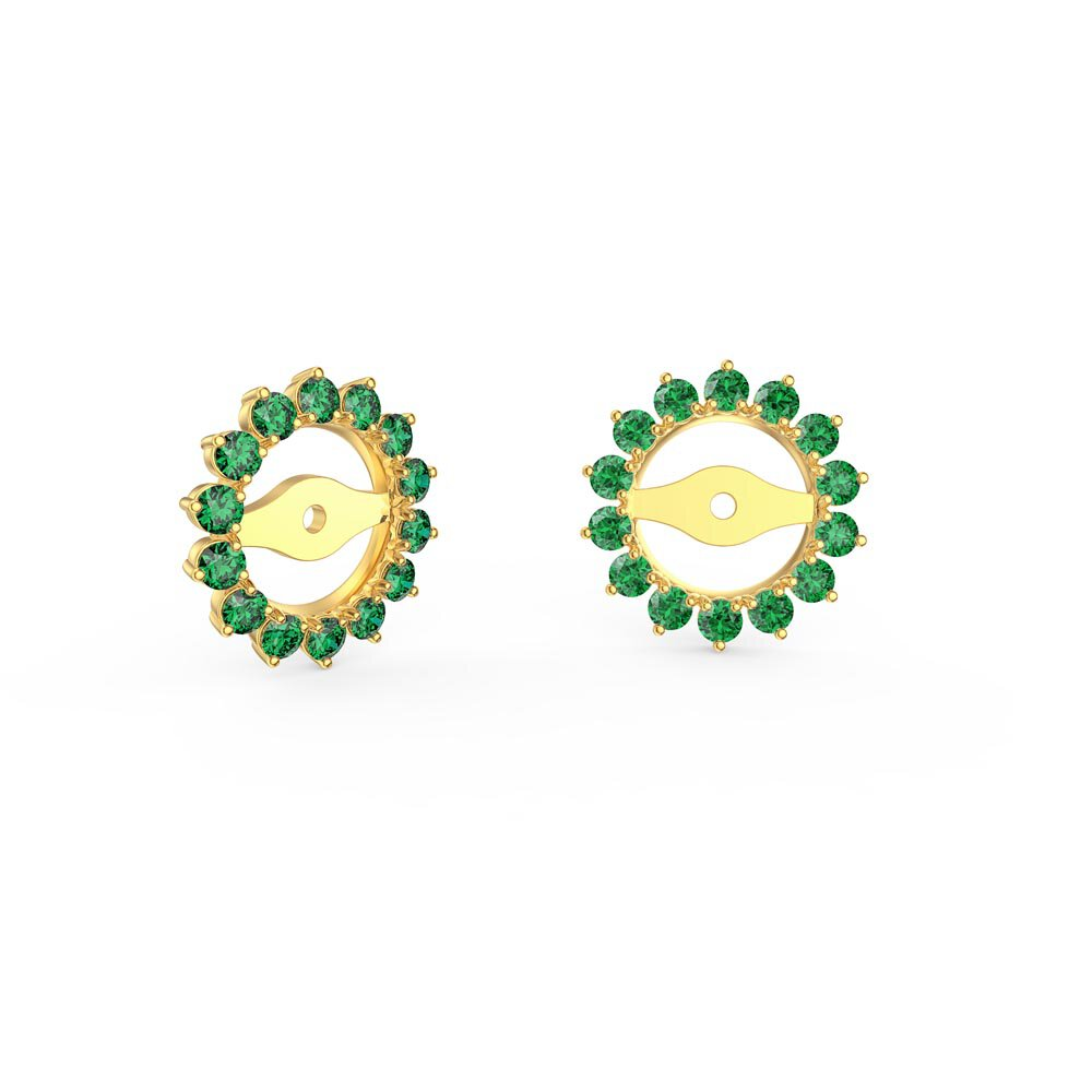 Fusion Emerald 18K Yellow Gold Gemburst Halo Earring Jackets