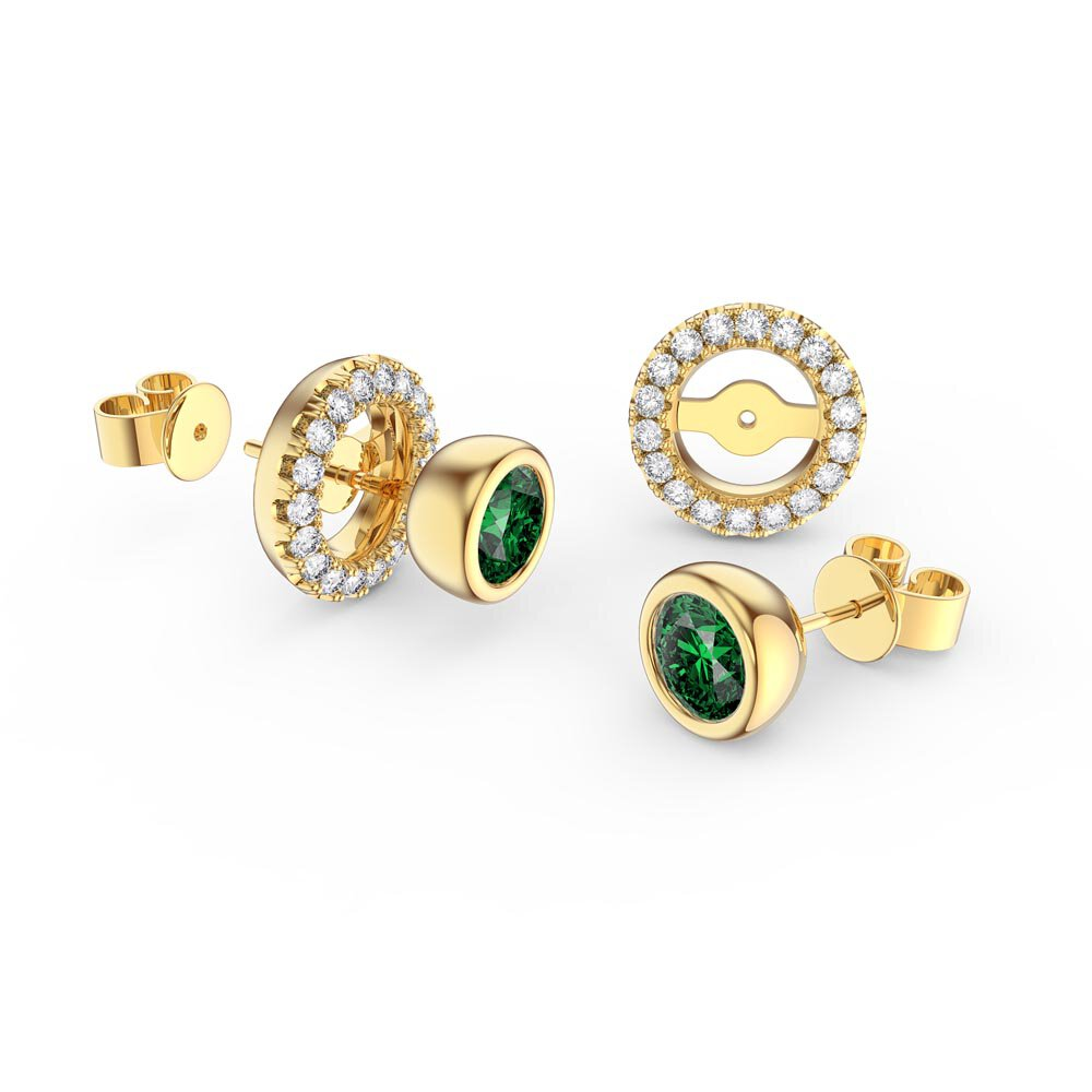 Infinity Emerald and Moissanite 18K Yellow Gold Stud Earrings Halo Jacket Set