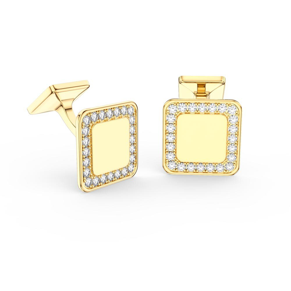 Signature Moissanite 10K Yellow Gold Cushion Cufflinks