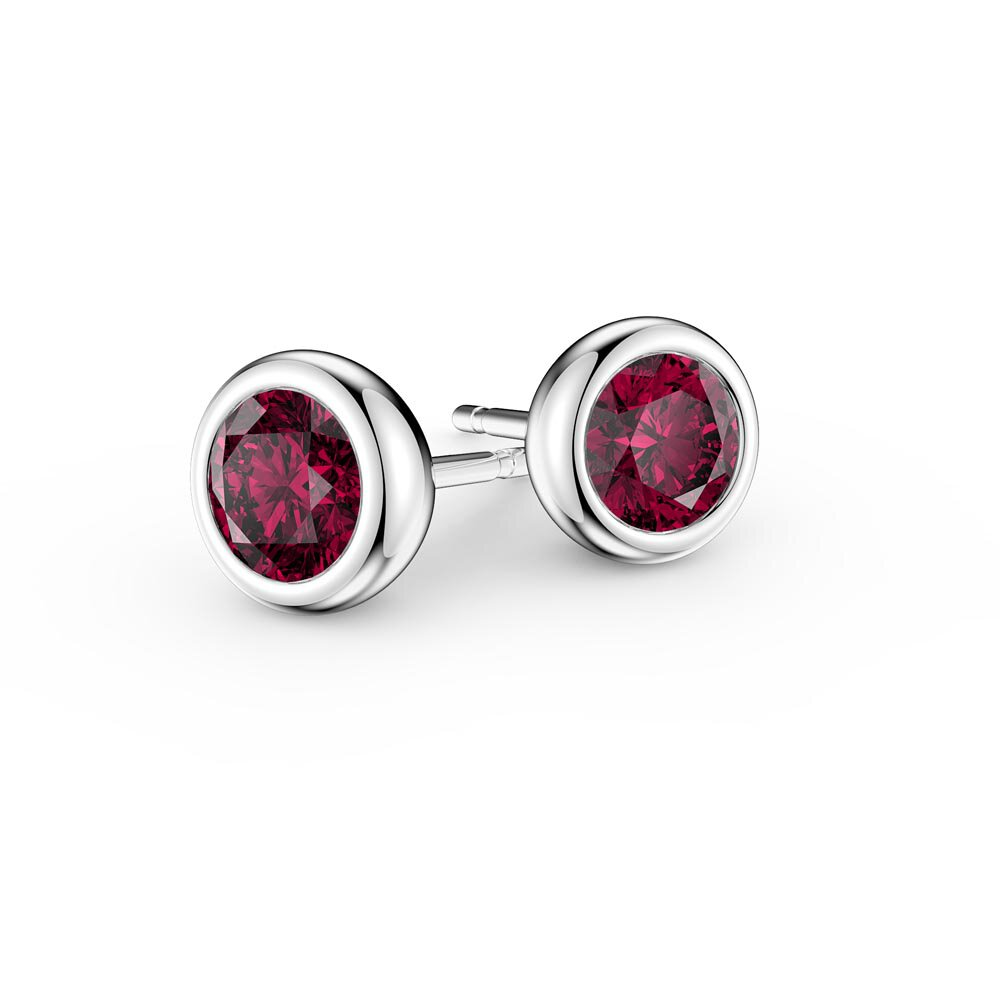 Infinity Ruby Platinum plated Silver Stud Earrings