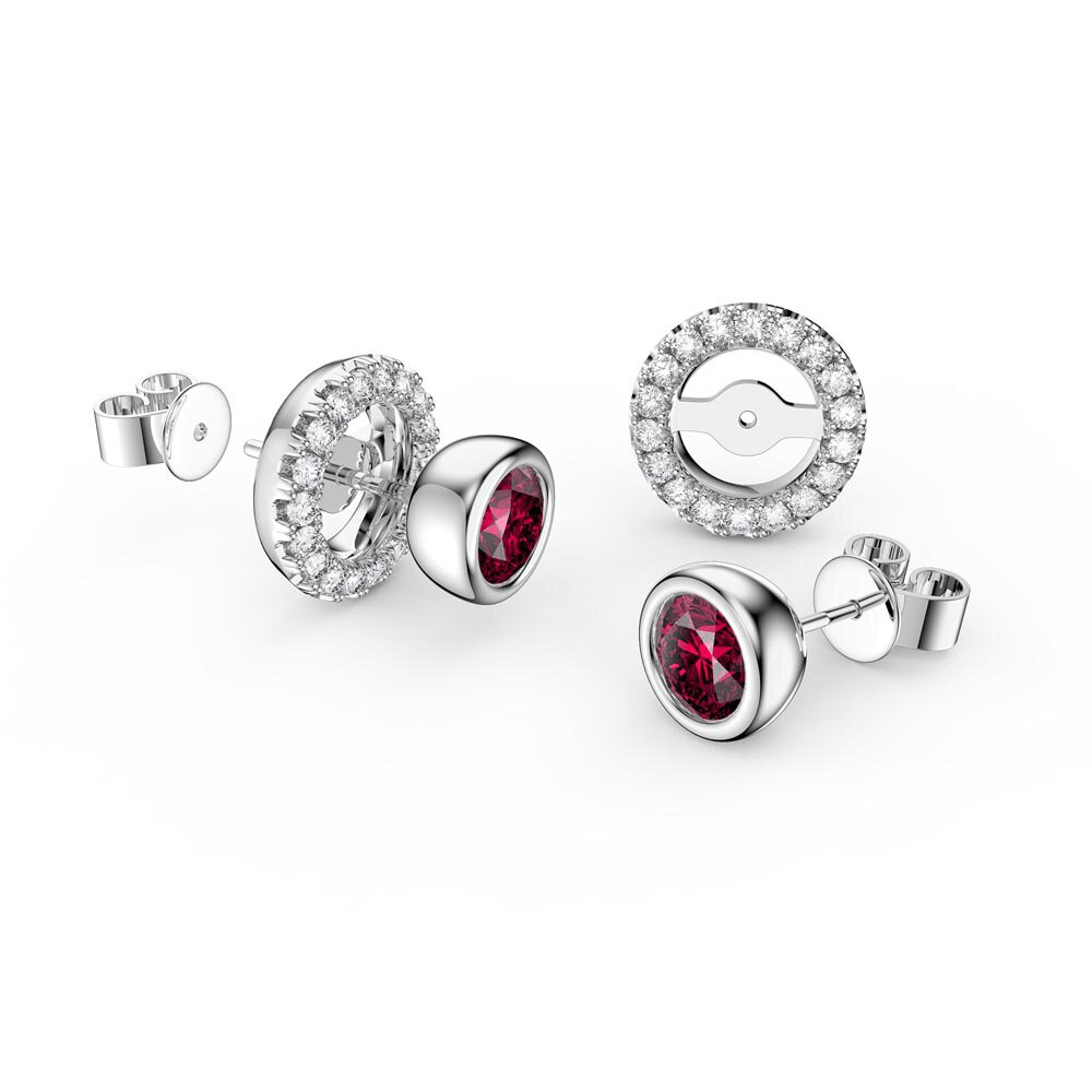 Infinity Ruby Platinum plated Silver Stud Earrings Halo Jacket Set