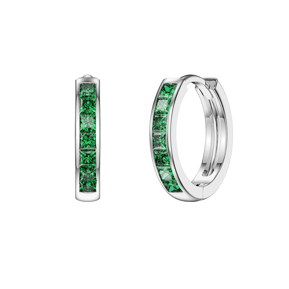 Princess Emerald Platinum plated Silver Hoop Earrings Small