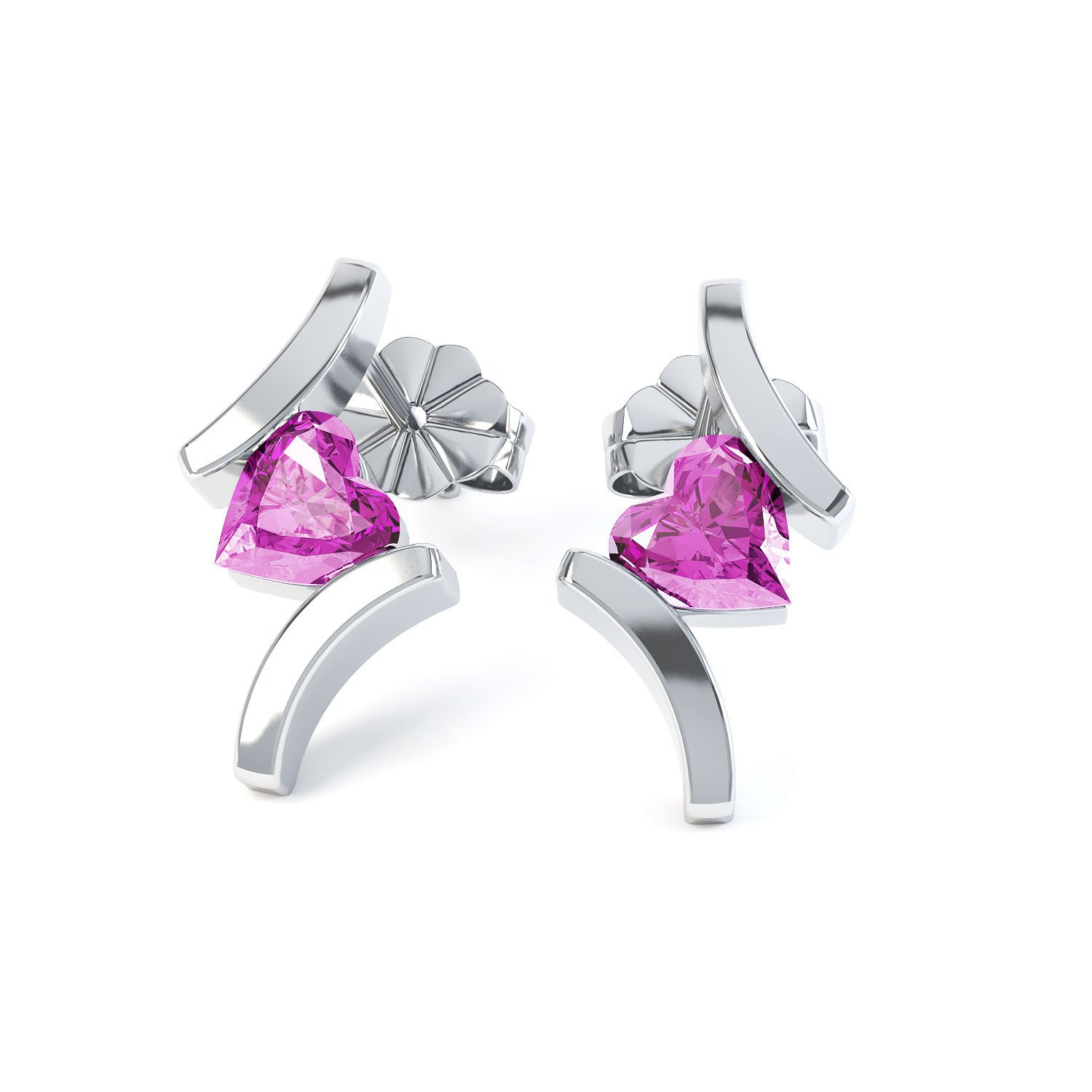 Combinations Pink Sapphire Heart Rhodium plated Silver Earrings