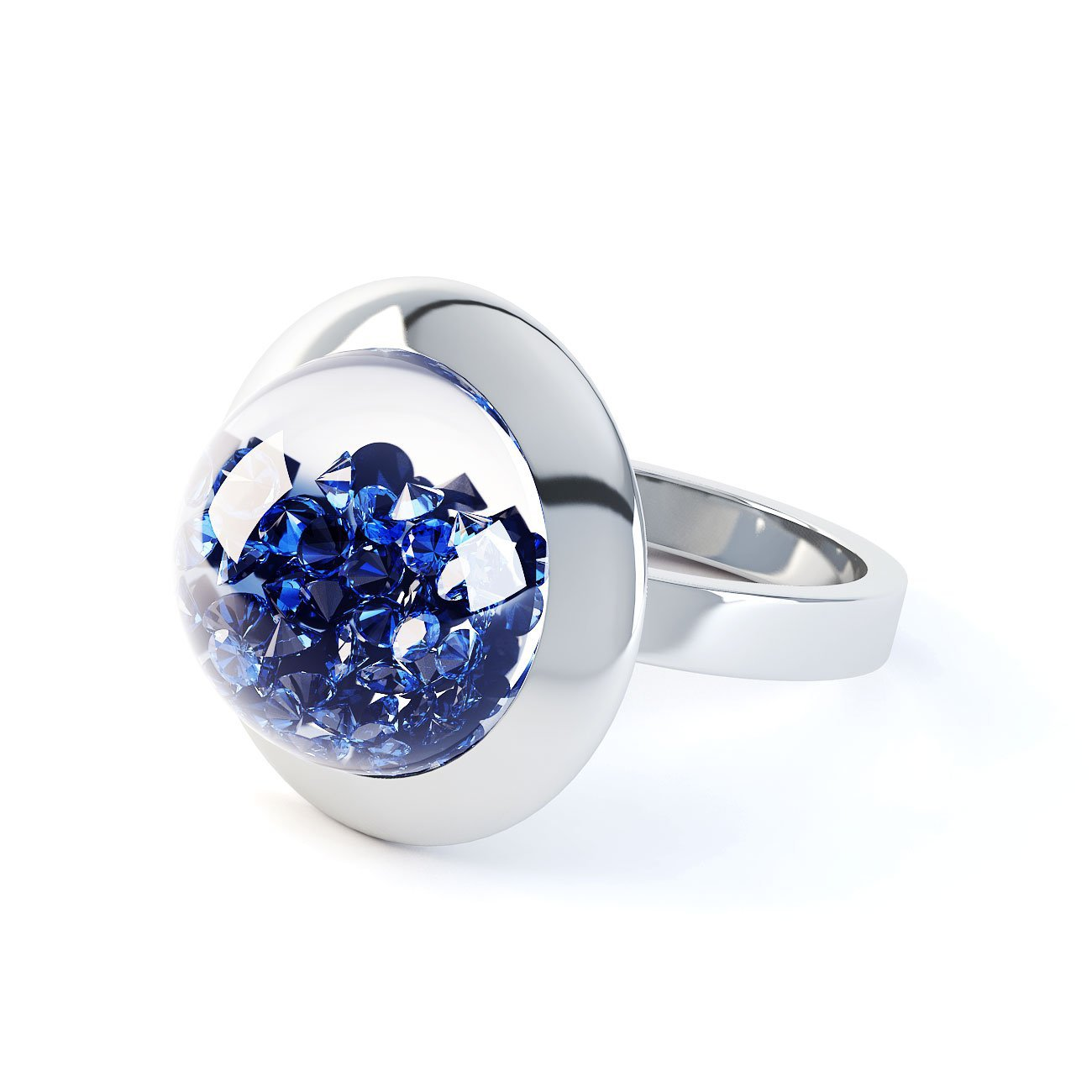 SnowDome 1ct. Blue Sapphire Dome 18ct Gold Ring