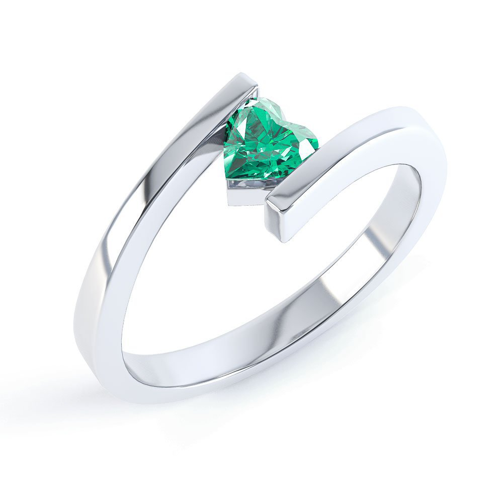 Combinations Emerald Platinum plated Silver Heart Stacking Ring