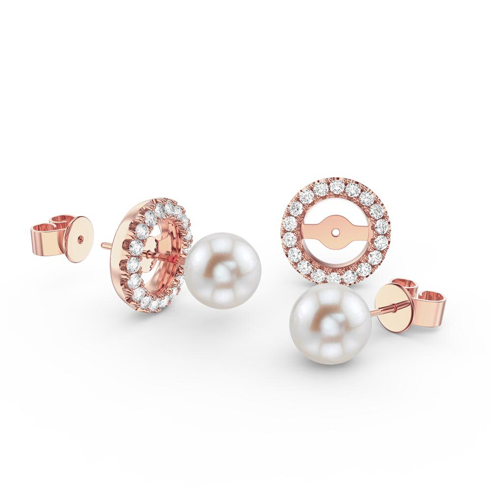 Fusion Pearl 18K Rose Gold Vermeil Stud Earrings Halo Jacket Set