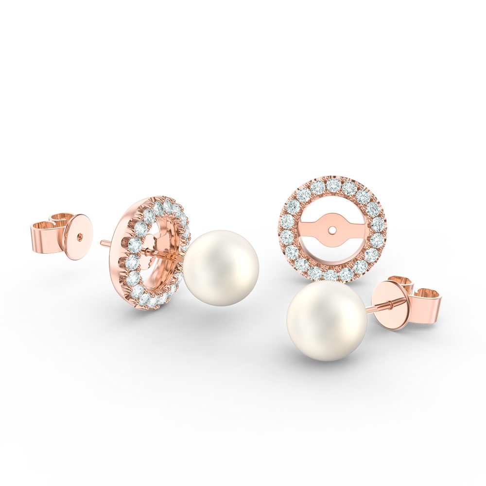 Fusion Akoya Pearl 18ct Rose Gold Stud Earrings Diamond Halo Jacket Set