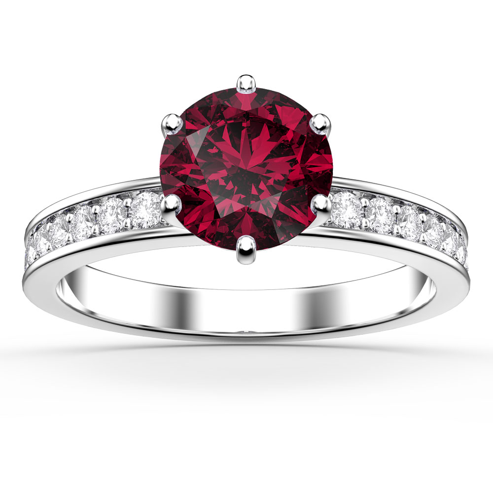 Unity 1ct Ruby Platinum plated Silver Channel Promise Ring