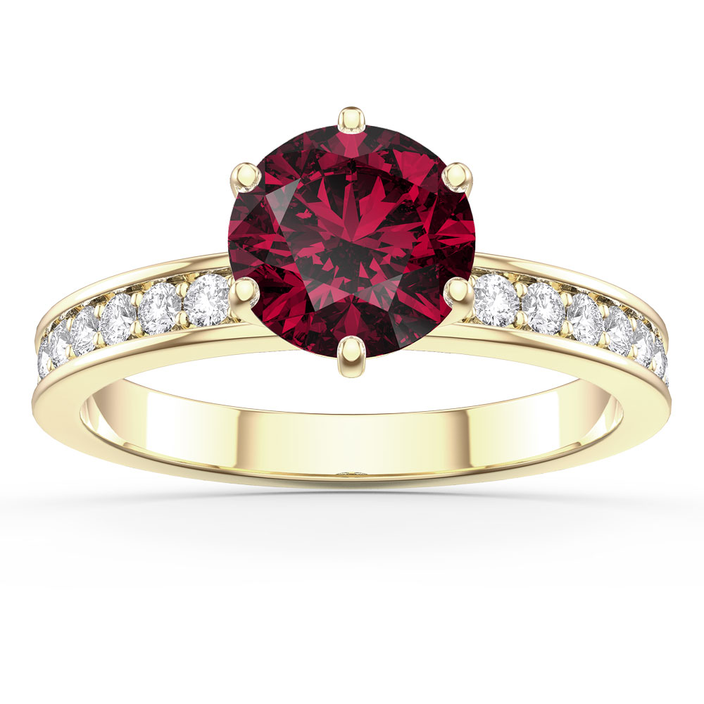 Unity 1ct Ruby 18ct Gold Vermeil Channel Promise Ring