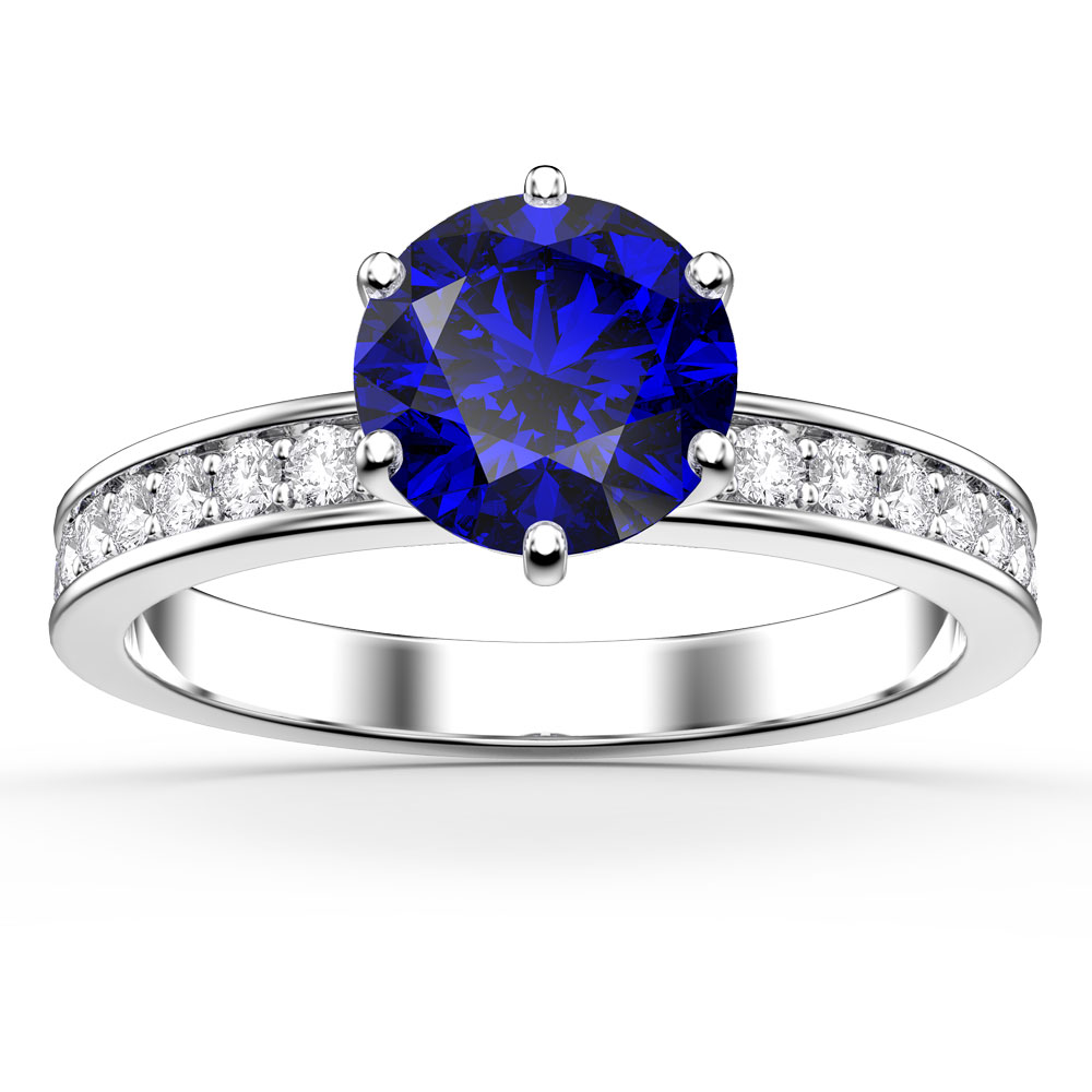 Unity 1ct Sapphire Platinum plated Silver Channel Set Promise Ring