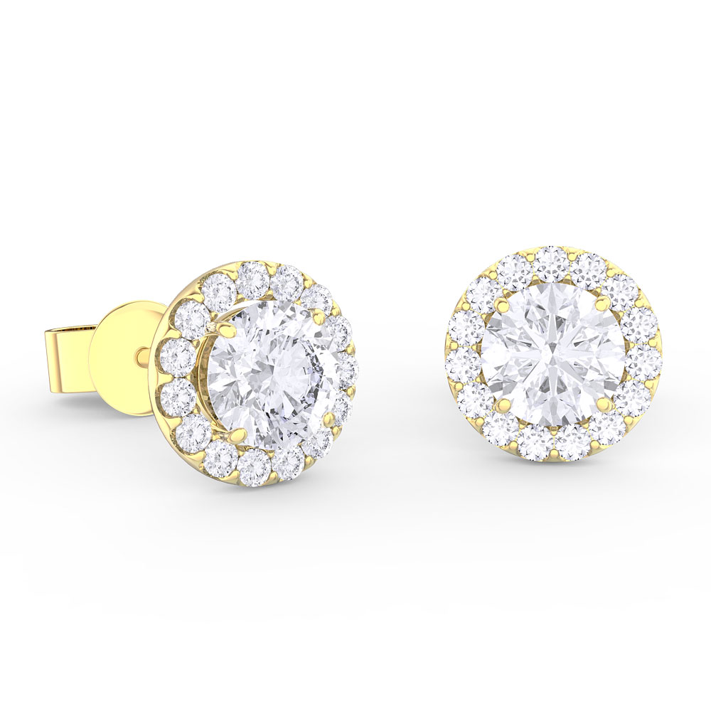 024545dd9a30 Eternity 1ct White Sapphire Halo 18ct Gold Vermeil Stud Earrings ...
