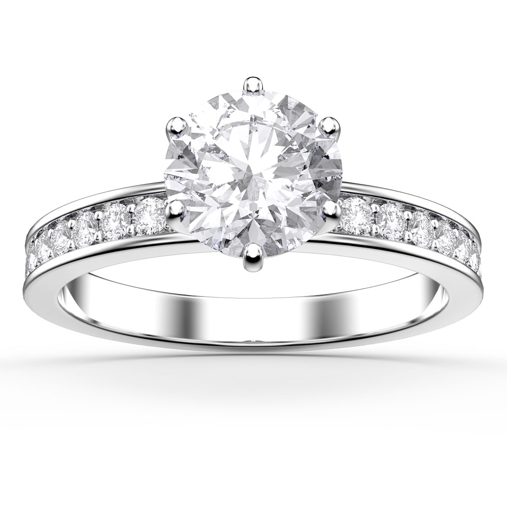 Unity 1ct White Sapphire Platinum plated Silver Channel Promise Ring