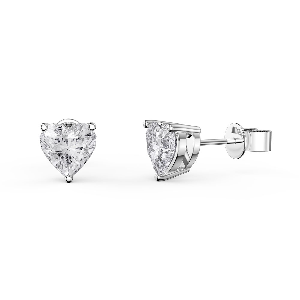Charmisma 1ct White Sapphire Heart Platinum Plated Silver Stud Earrings