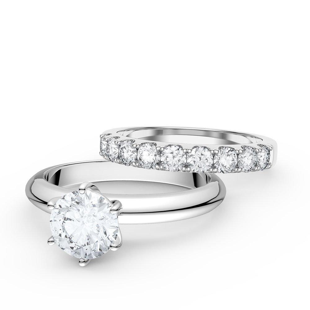 Unity 15ct Diamond 18ct White Gold Engagement and Half Eternity