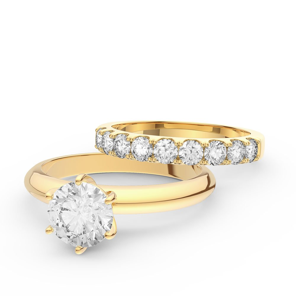Unity 15ct White Sapphire 18ct Yellow Gold Engagement Ring With