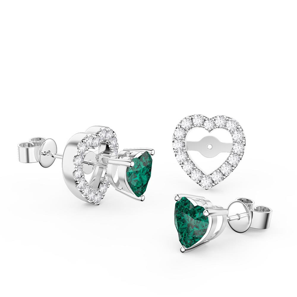 Charmisma Heart Emerald  and White Sapphire Platinum Plated Silver Stud Earrings Halo Jacket Set