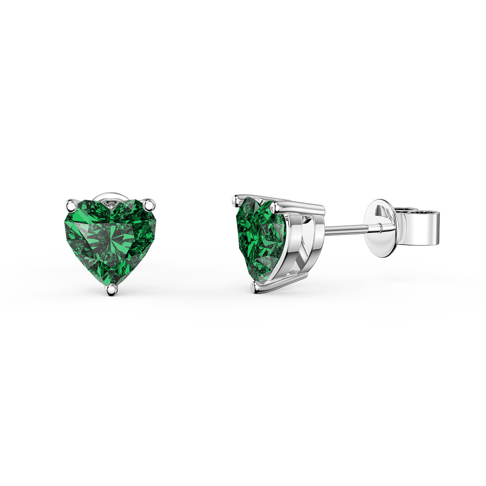 Charmisma 1ct Emerald Heart Platinum Plated Silver Stud Earrings