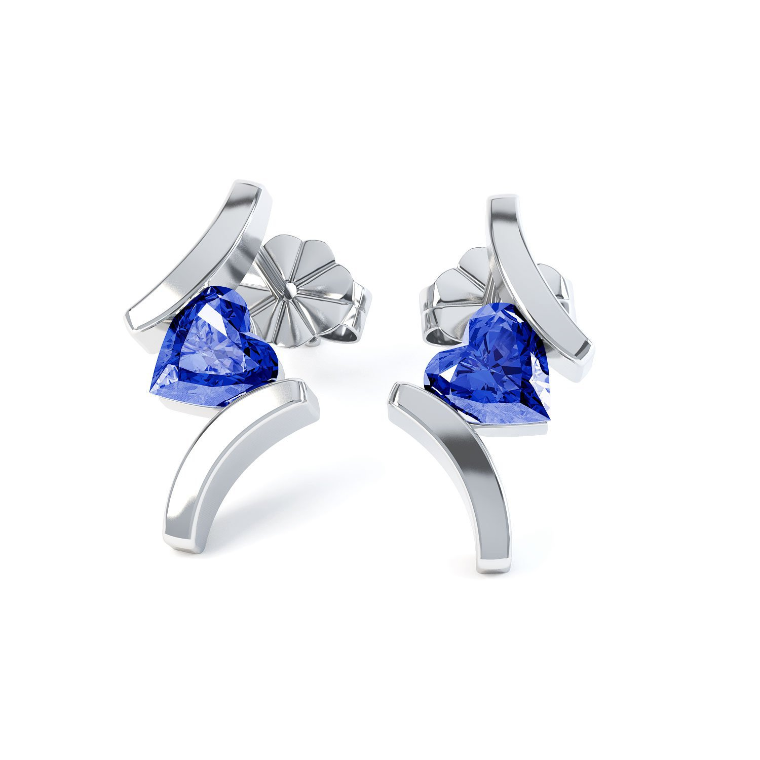 Combinations Blue Sapphire Heart Rhodium plated Silver Earrings