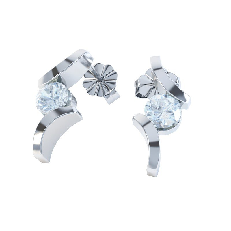 Combinations Aquamarine Round Rhodium plated Silver Earrings