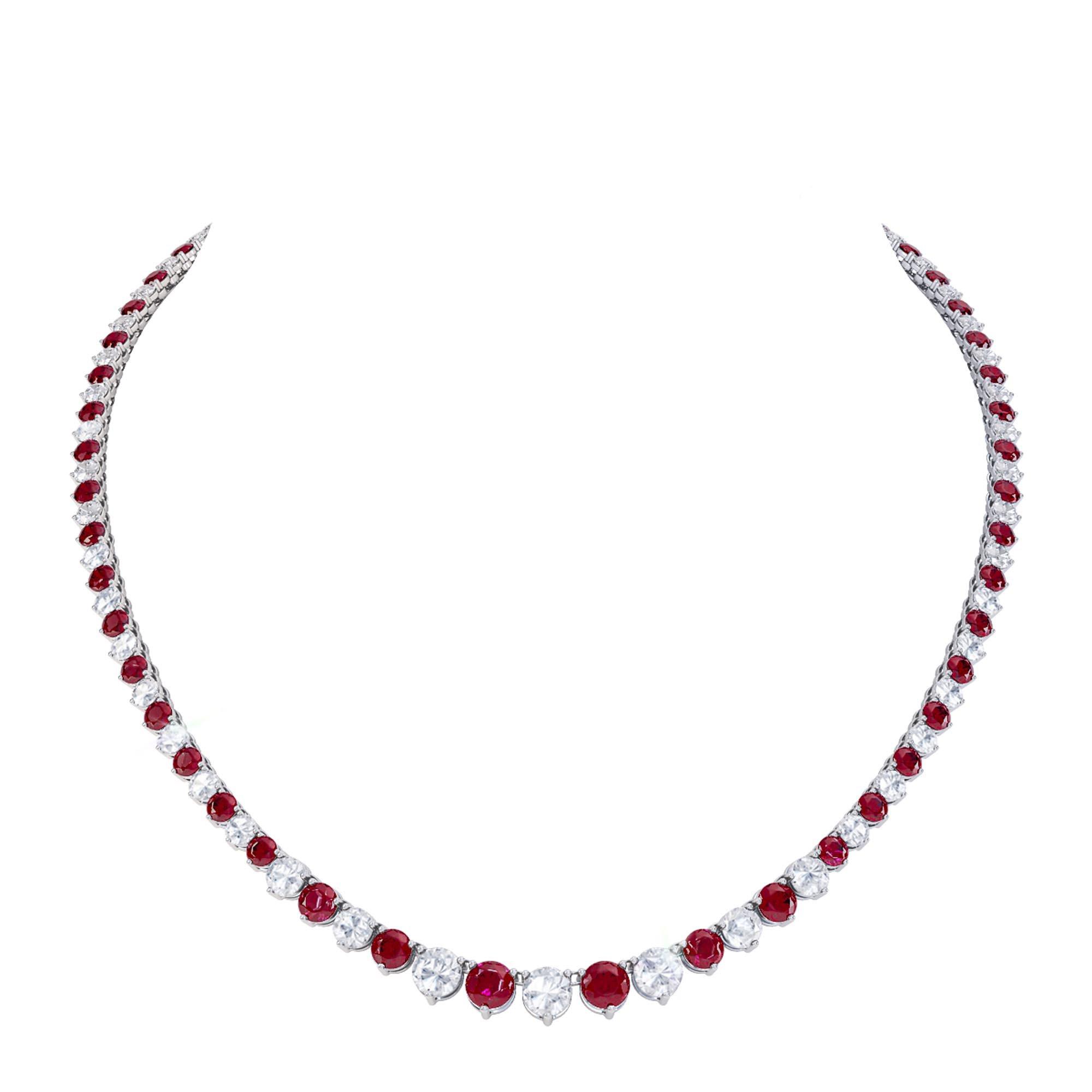 Ruby And Diamond 18k White Gold Eternity Tennis Necklace Jian London Diamond Necklaces