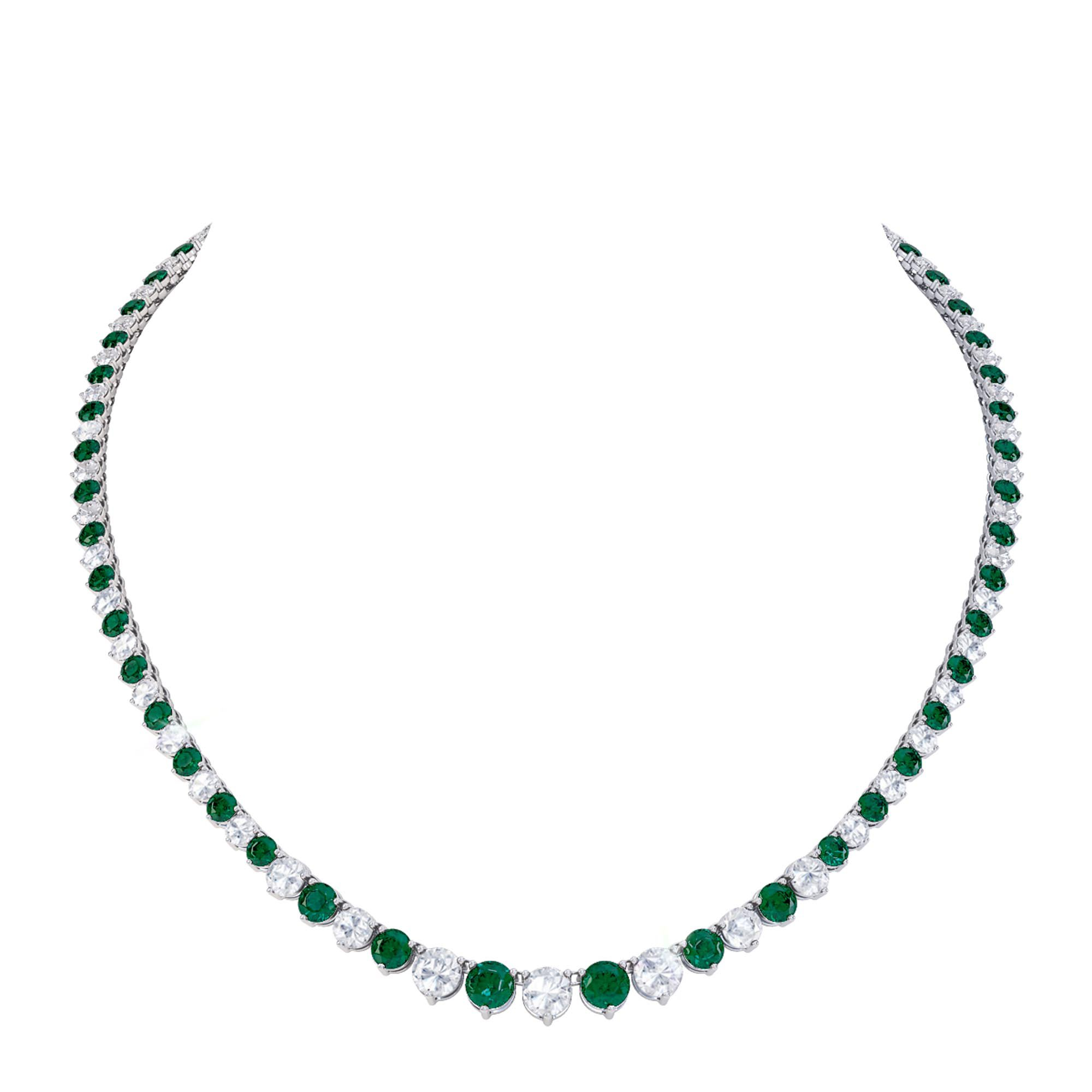 Eternity Emerald Platinum Plated Silver Tennis Necklace Jian London Silver Necklaces