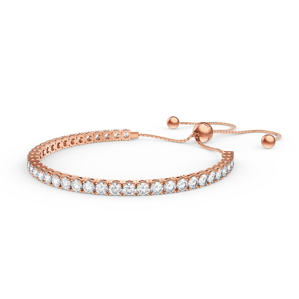 Eternity 3.8ct GH SI Diamond 18K Rose Gold Fiji Friendship Tennis Bracelet