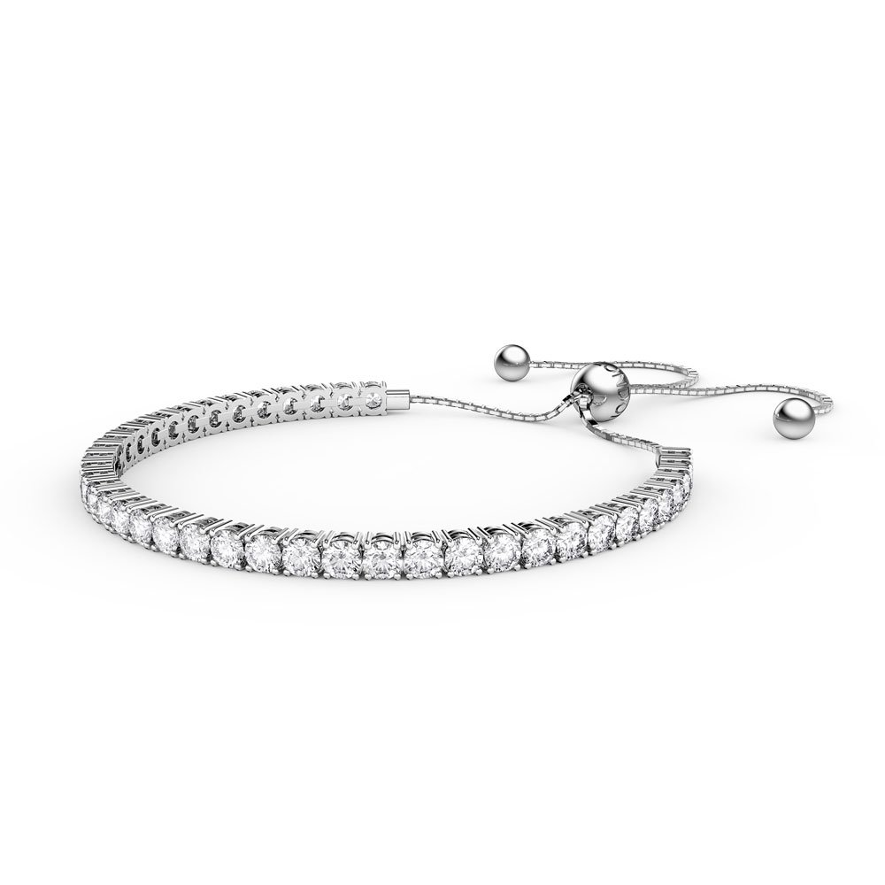 Eternity Ruby and White Sapphire Platinum plated Silver Fiji Friendship Tennis Bracelet 4C9Ntbh