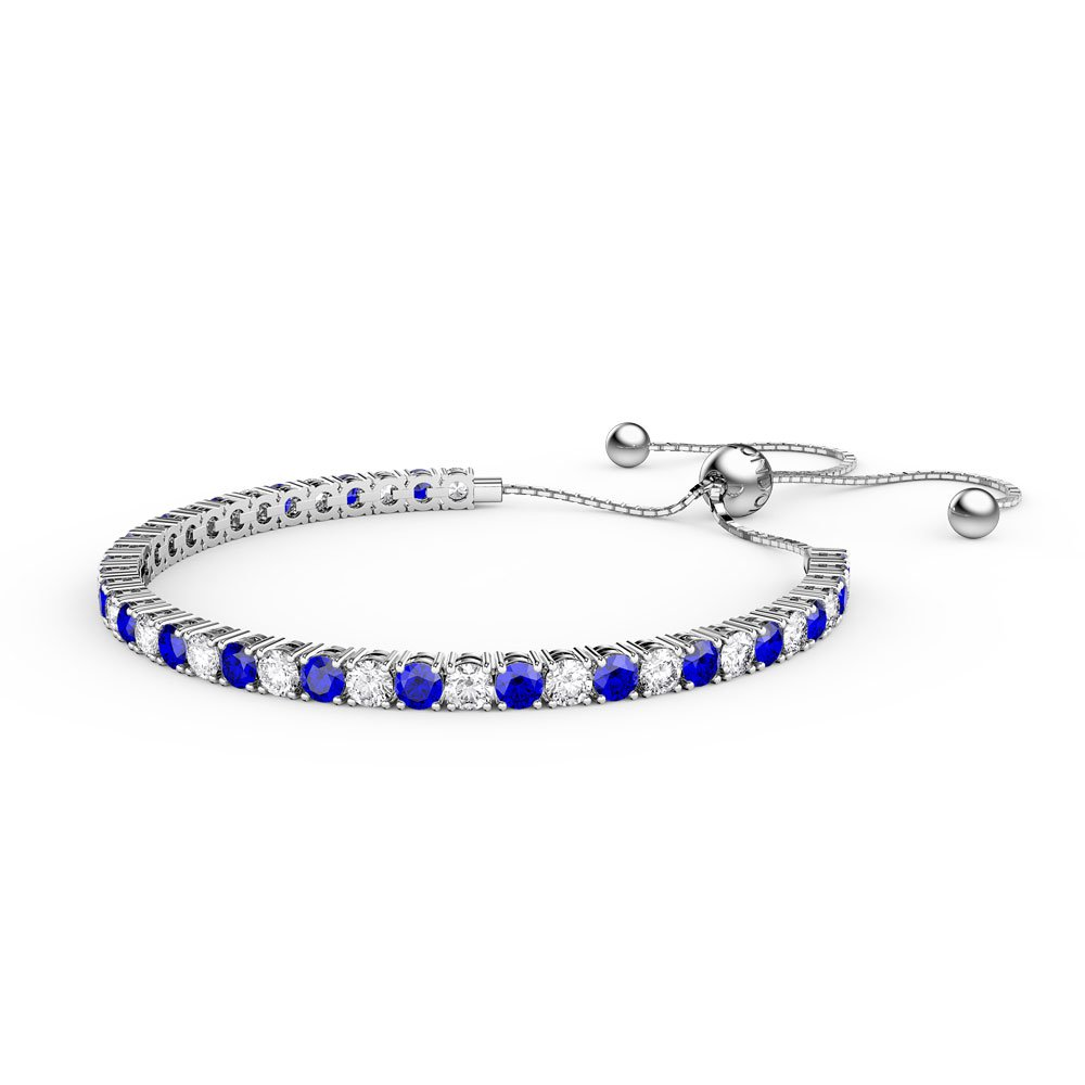 Eternity Sapphire Platinum plated Silver Fiji Friendship Tennis Bracelet