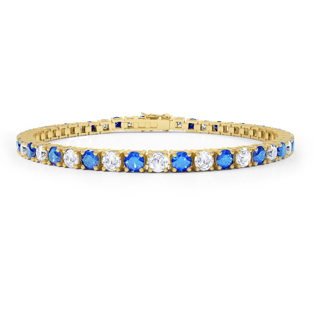 Eternity Sapphire CZ 18ct Gold plated Silver Tennis Bracelet