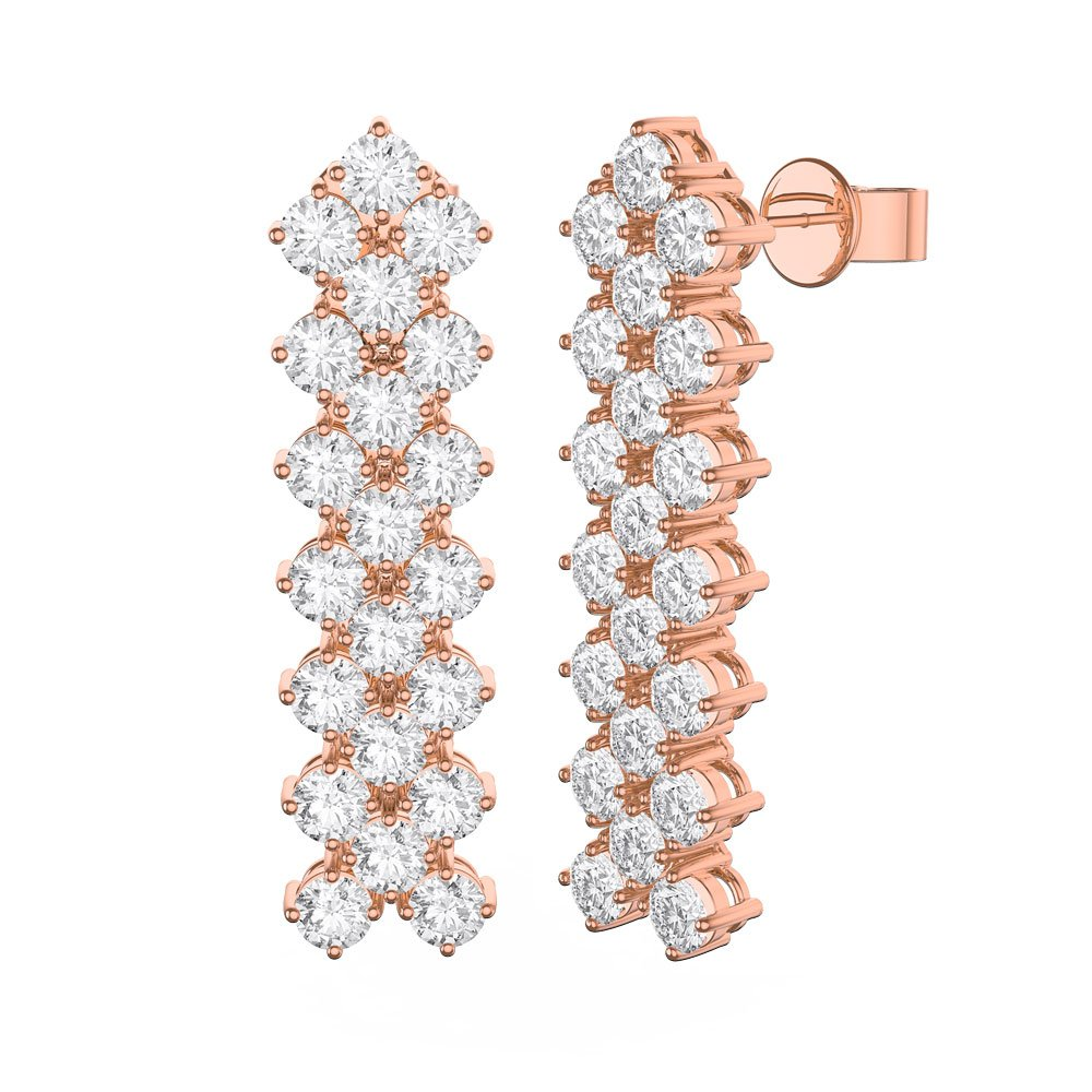 Eternity Three Row Diamond CZ 18ct Rose Gold plated Silver Drop Earrings