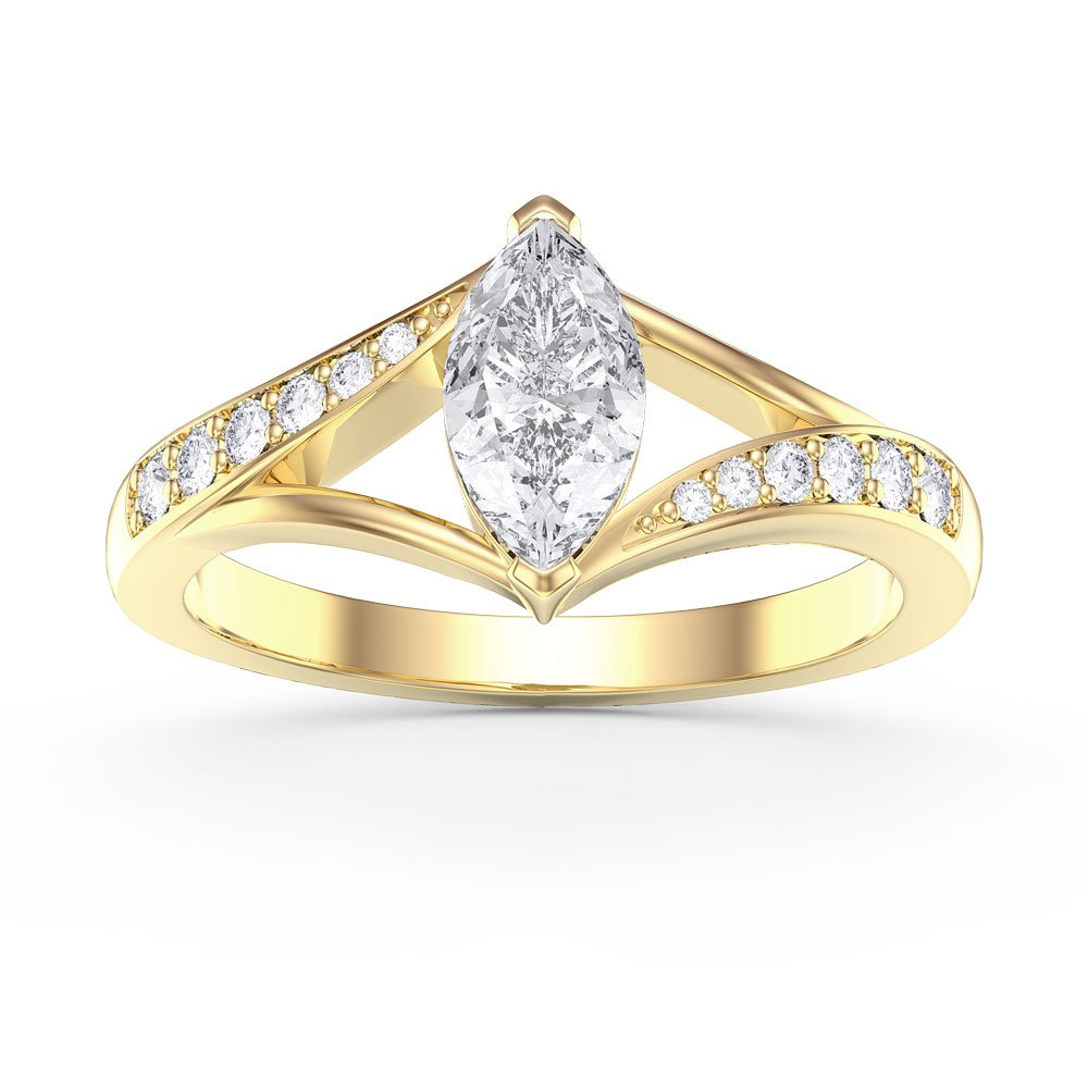 Unity Marquise White Sapphire 18ct Gold Vermeil Promise Ring