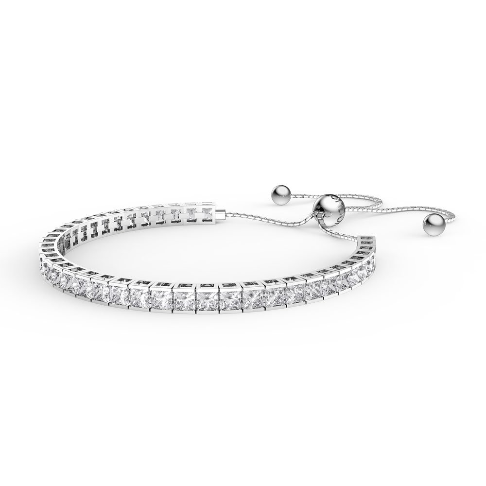 Princess White Sapphire Platinum plated Silver Fiji Friendship Tennis Bracelet