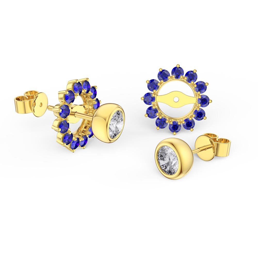 Infinity White Sapphire 10K Yellow Gold Stud Earrings Sapphire Halo Jacket Set