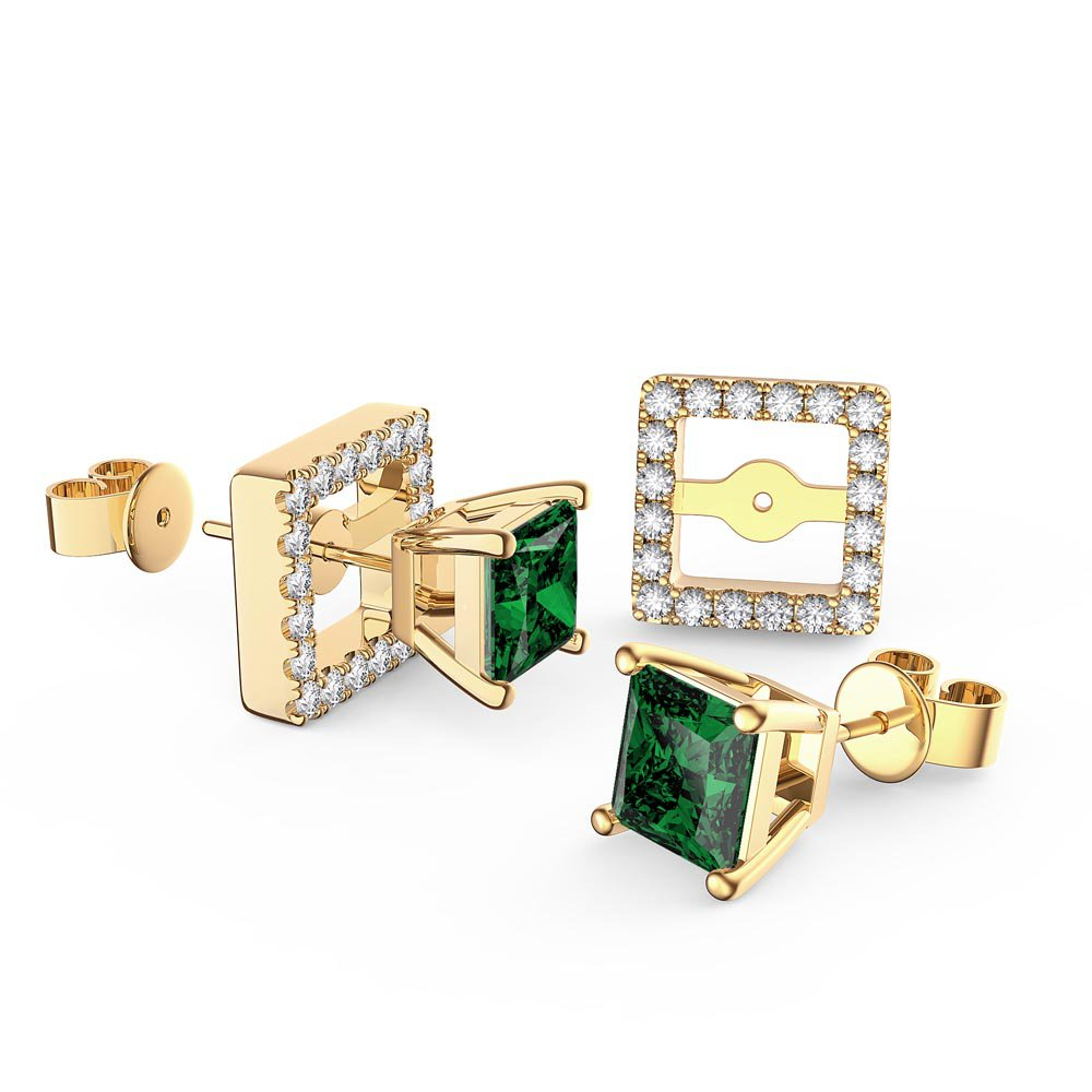 Charmisma Princess Emerald and White Sapphire 10K Yellow Gold Stud Earrings Halo Jacket Set