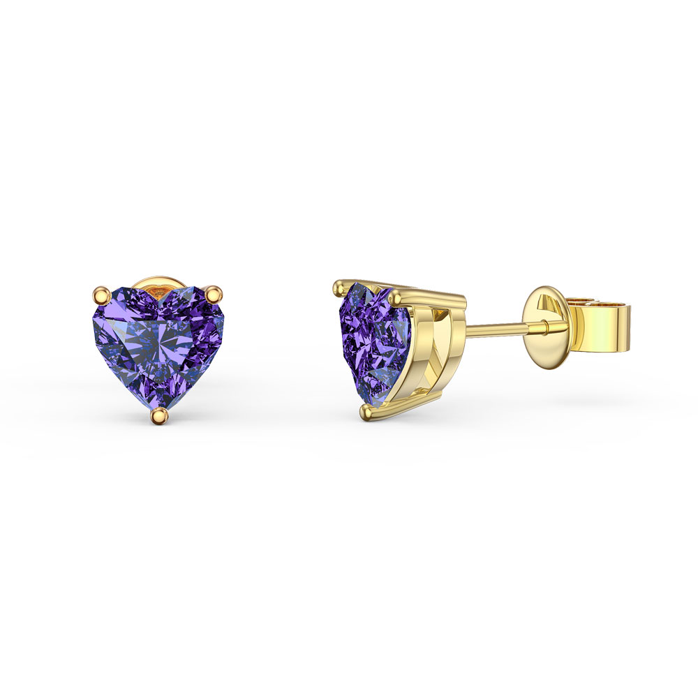 Charmisma 1ct Heart Amethyst 18K Gold Vermeil Stud Earrings