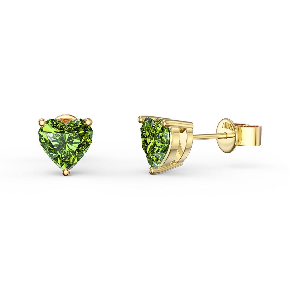 Charmisma 1ct Heart Peridot 18k Yellow Gold Stud Earrings