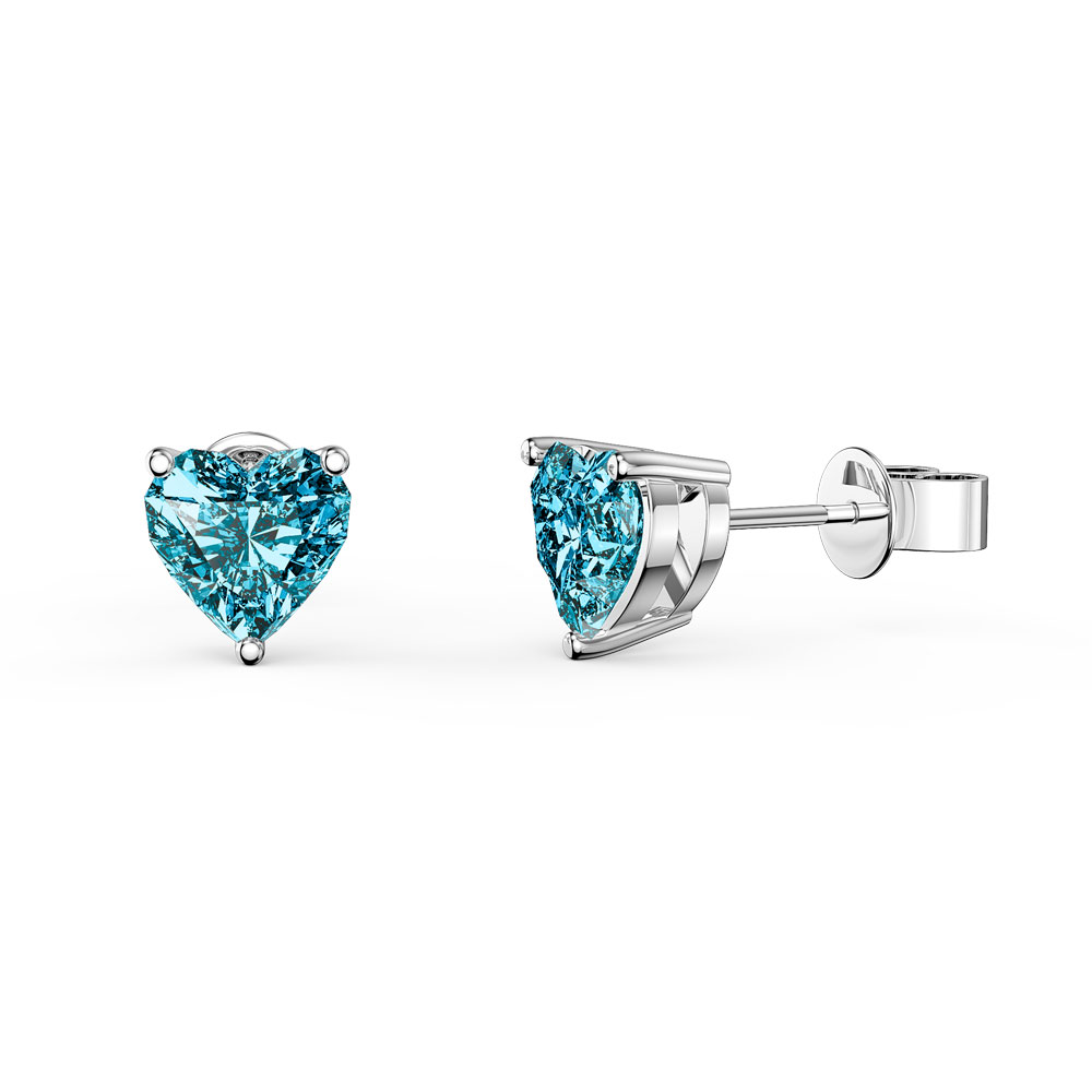Charmisma 1ct Heart Swiss Blue Topaz 18K White Gold Stud Earrings