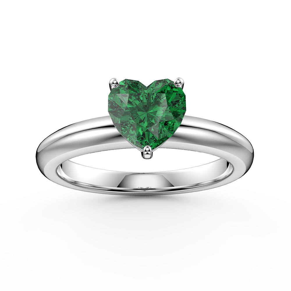 Unity 1ct Heart Emerald Solitaire 10K White Gold Proposal Ring